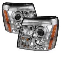 Spyder Auto PRO-YD-CE02-DRL-C Cadillac Escalade Chrome DRL LED Halo Projector Headlight
