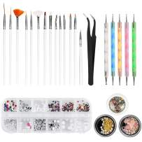 Nail Art Kit, WOVTE 15 Gel Acrylic Painting Brushes, 5 Dotting Pens, 12 Grids Nail Art Rhinestones, 2 Pack Colorful Diamonds Crystals Beads Gems Nail Art Decorations and 1 Tweezers for Nail Art DIY