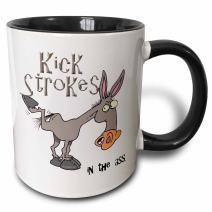 3dRose Kick Strokes In The Ass Awareness Ribbon Cause Design Two Tone Mug, 11 oz, Black/White