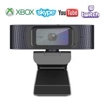 Webcam with Shutter Desktop or Laptop Webcam Autofocus Full HD 1080P PC Camera Pro Streaming OBS Skype Camera External USB Computer Camera with Dual Microphones YouTube Twitch Compatible