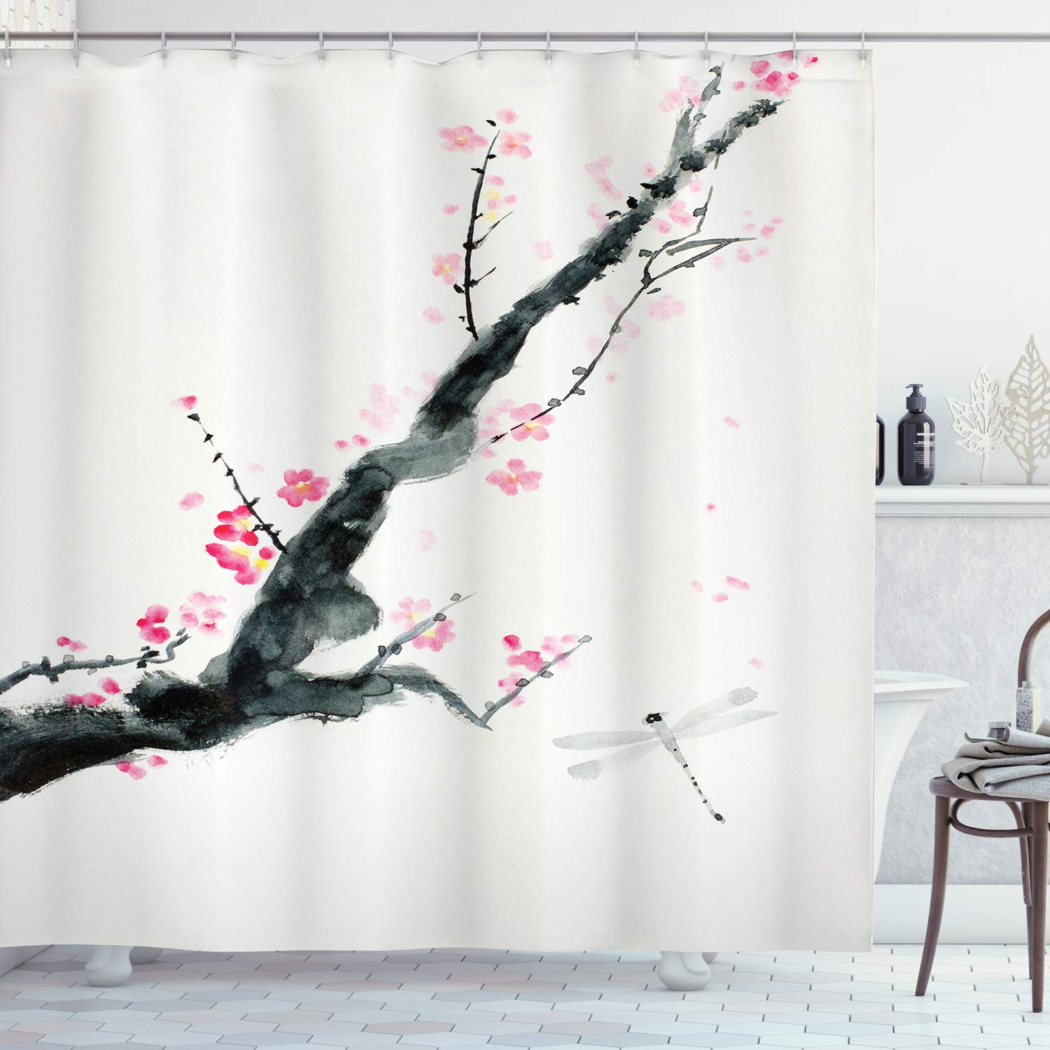 """Ambesonne Dragonfly Shower Curtain, Branch of a Pink Cherry Blossom Sakura Tree Bud and a Dragonfly Dramatic Artisan, Cloth Fabric Bathroom Decor Set with Hooks, 75"""" Long, Jungle Green"""