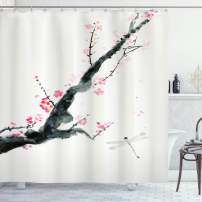 "Ambesonne Dragonfly Shower Curtain, Branch of a Pink Cherry Blossom Sakura Tree Bud and a Dragonfly Dramatic Artisan, Cloth Fabric Bathroom Decor Set with Hooks, 84"" Long Extra, Jungle Green"