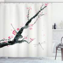 "Ambesonne Dragonfly Shower Curtain, Branch of a Pink Cherry Blossom Sakura Tree Bud and a Dragonfly Dramatic Artisan, Cloth Fabric Bathroom Decor Set with Hooks, 75"" Long, Jungle Green"