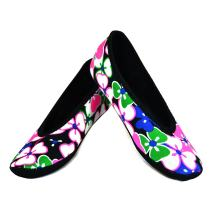 NuFoot Ballet Flats Women's Shoes, Best Foldable & Flexible Flats, Slipper Socks, Travel Slippers & Exercise Shoes, Dance Shoes, Yoga Socks, House Shoes, Indoor Slippers, Black Flowers, X-Large