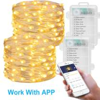 MINGER Fairy Light Battery Operated, 16.4Ft Led String Light 2 Pack with APP for Christmas Home Wedding Festivals Warm White