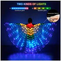 iMucci LED Lights Belly Dance Wing Isis Wings with Sticks for Adults and Child