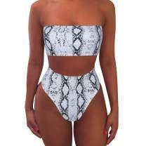 MOOSLOVER Women's Bandeau Bikini Leopard Print High Cut Strapless High Waist Bathing Suit