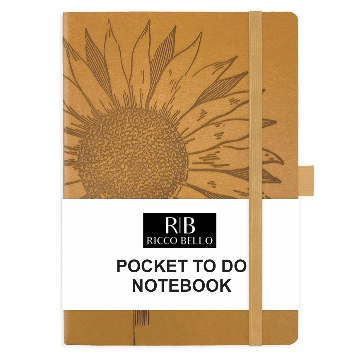 RICCO BELLO Small Hardcover Pocket to Do List Notebook, Elastic Band Closure, Pen Loop, Ribbon Bookmark, Vegan Leather, Storage Pocket, 4.25 x 6 inches (Sunflower)