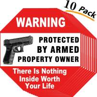 YTFGGY Warning Signs-10 Pack Gun There is Nothing Here Worth Your Life-Protected by Armed Property Owner Sign Indoor & Outdoor Use, Home & Business Security-UV Proof&Waterproof