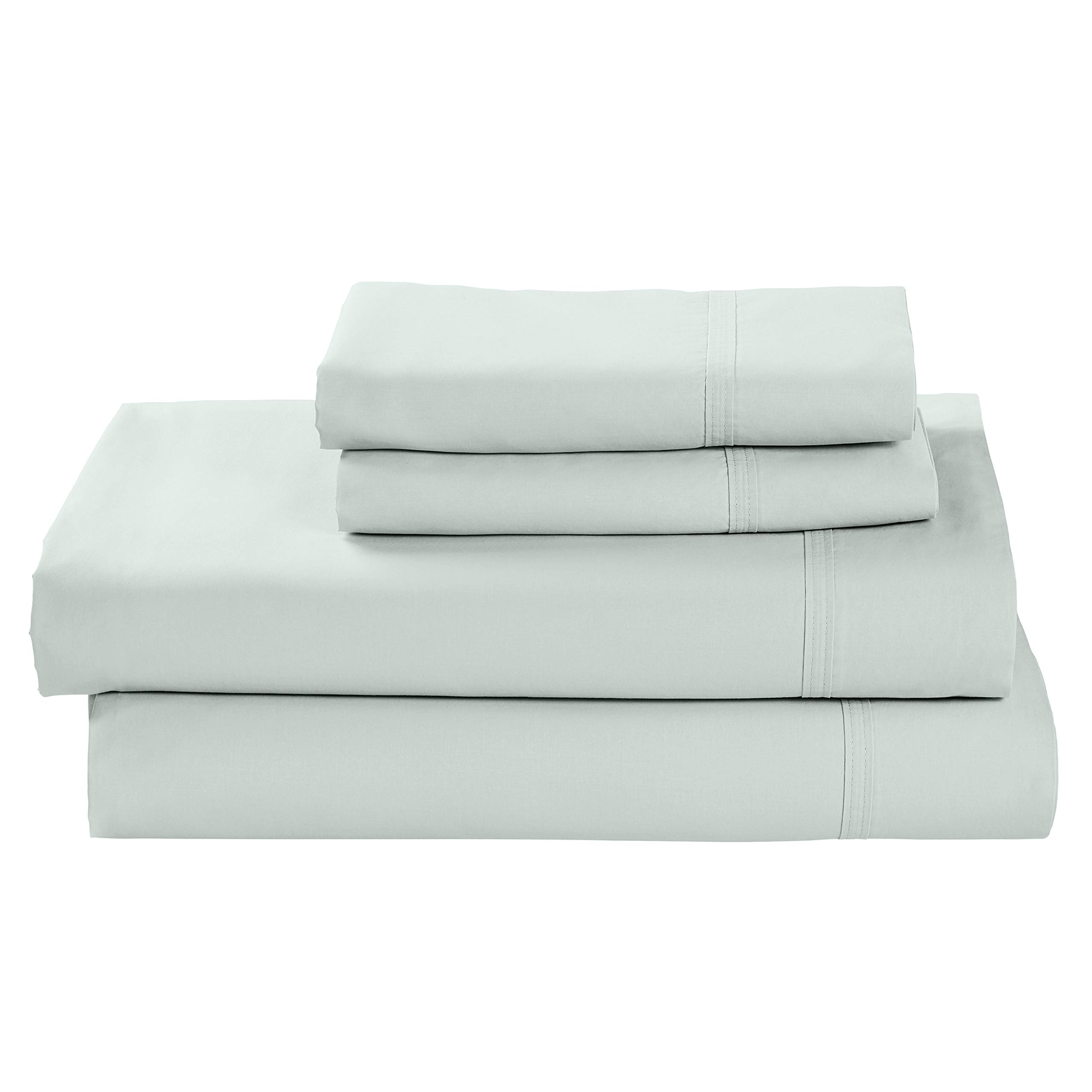 Rivet Percale 100% Organic Cotton Bed Sheet Set, Easy Care, Queen, Mint