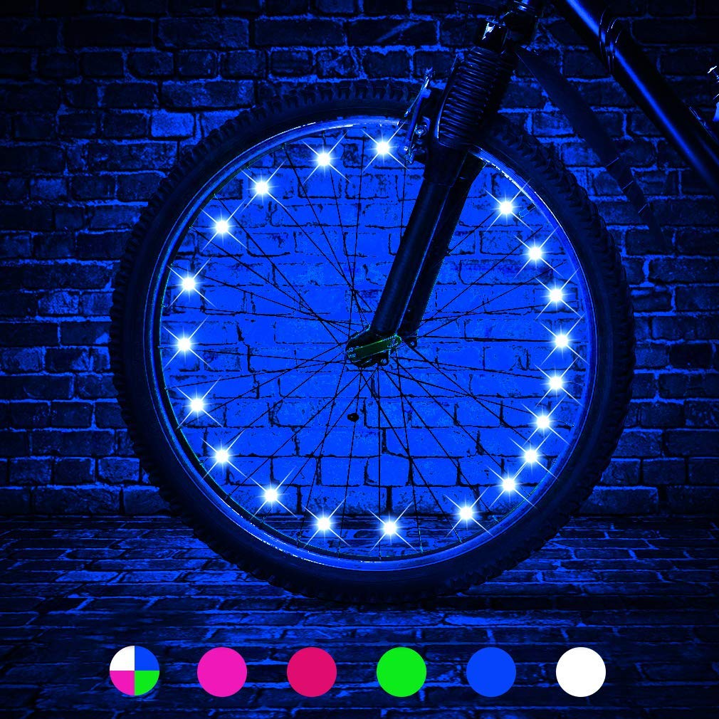 LED Bike Wheel Lights, LEDGLE Blue Light Battery Operated Bike Tire Lights, Cycling Wheel Safety Light Spoke Decoration, Automatic Lighting Waterproof Bicycle Wheel Light String, 1 Tire Pack