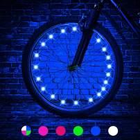 LED Bike Wheel Lights, LEDGLE Blue Light Battery Operated Bike Tire Lights, Cycling Wheel Safety Light Spoke Decoration, Automatic Lighting Waterproof Bicycle Wheel Light String, 1 Tire Pack