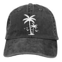 LOKIDVE Men's Palm Tree Baseball Cap Tropical Coconut Distressed Sun Hat Black