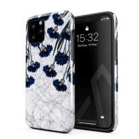 BURGA Phone Case Compatible with iPhone 11 PRO - Blue Cornflower White Marble Floral Print Pattern Fashion Designer Heavy Duty Shockproof Dual Layer Hard Shell + Silicone Protective Cover