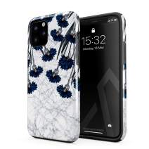 BURGA Phone Case Compatible with iPhone 11 PRO MAX - Blue Cornflower White Marble Floral Print Pattern Fashion Designer Heavy Duty Shockproof Dual Layer Hard Shell + Silicone Protective Cover