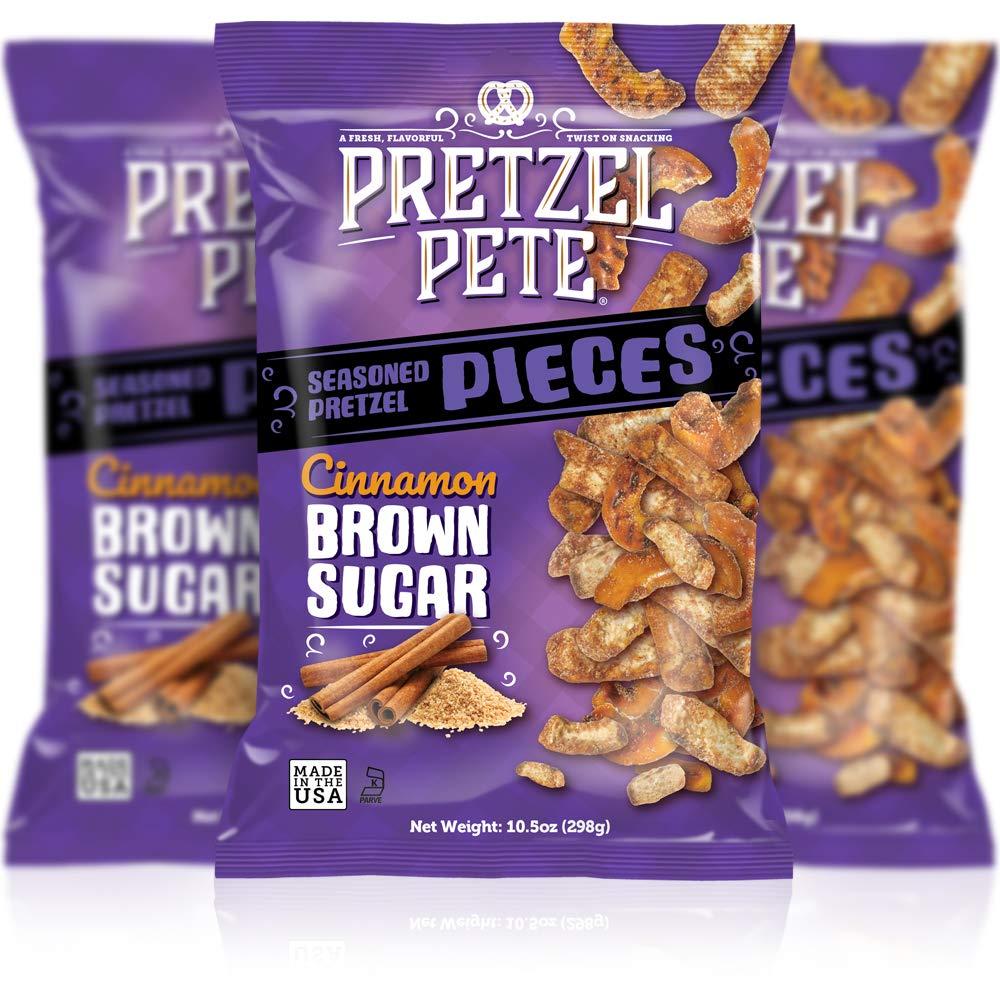 Pretzel Pete Cinnamon Brown Sugar Seasoned Pretzel Pieces, Non-GMO, Small Batch, Bold Flavor, 10.5oz (3 Pack)
