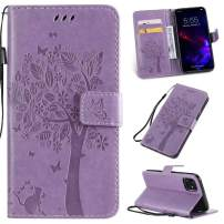Cmeka 3D Cat Tree Flower Butterfly Wallet Case for iPhone 11 Pro Max 2019 6.5 inch Slim Flip Leather Protective Case Magnetic Closure Credit Card Slots Holder Kickstand Function Purple