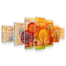 Startonight Large Canvas Wall Art Abstract - Orange Trees in a Magical World - Huge Framed Modern Set of 7 Panels 40 x 95 Inches