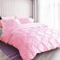 """HORIMOTE HOME Pink Duvet Cover King, Cotton Reverse and Polyester Satin Face, Soft Cute Ruched Pinch Pleated Pintuck Diamond Pattern Duvet Cover for Girls Women Bedroom, 104""""x90"""", No Comforter"""