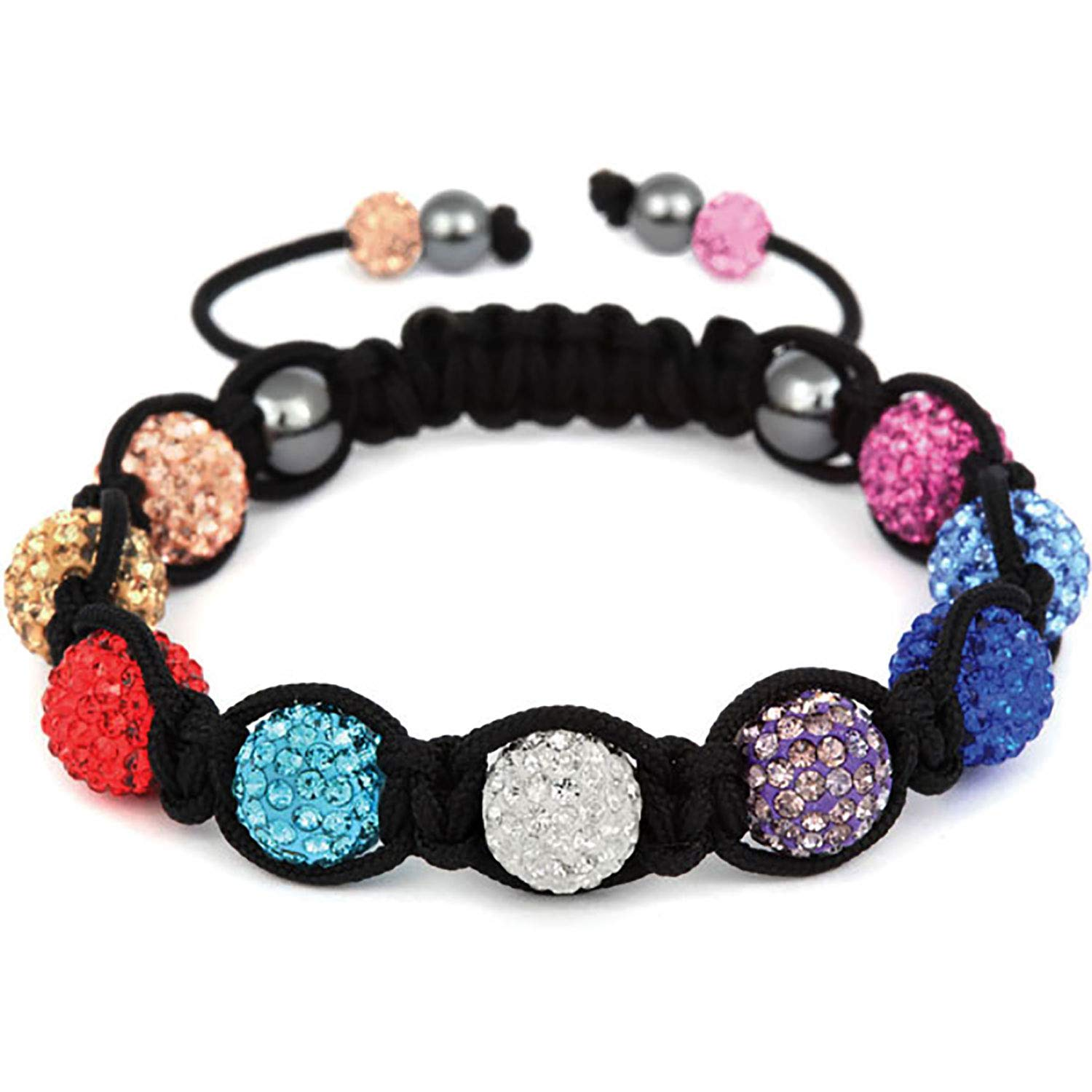 BodyJ4You Disco Balls Bracelet 9 Rainbow Beads Pave Crystals Adjustable Wrist Iced Out Jewelry