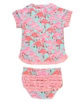 RuffleButts Baby/Toddler Girls UPF 50+ 2-Piece Short Sleeve Rash Guard Bikini w/Ruffles