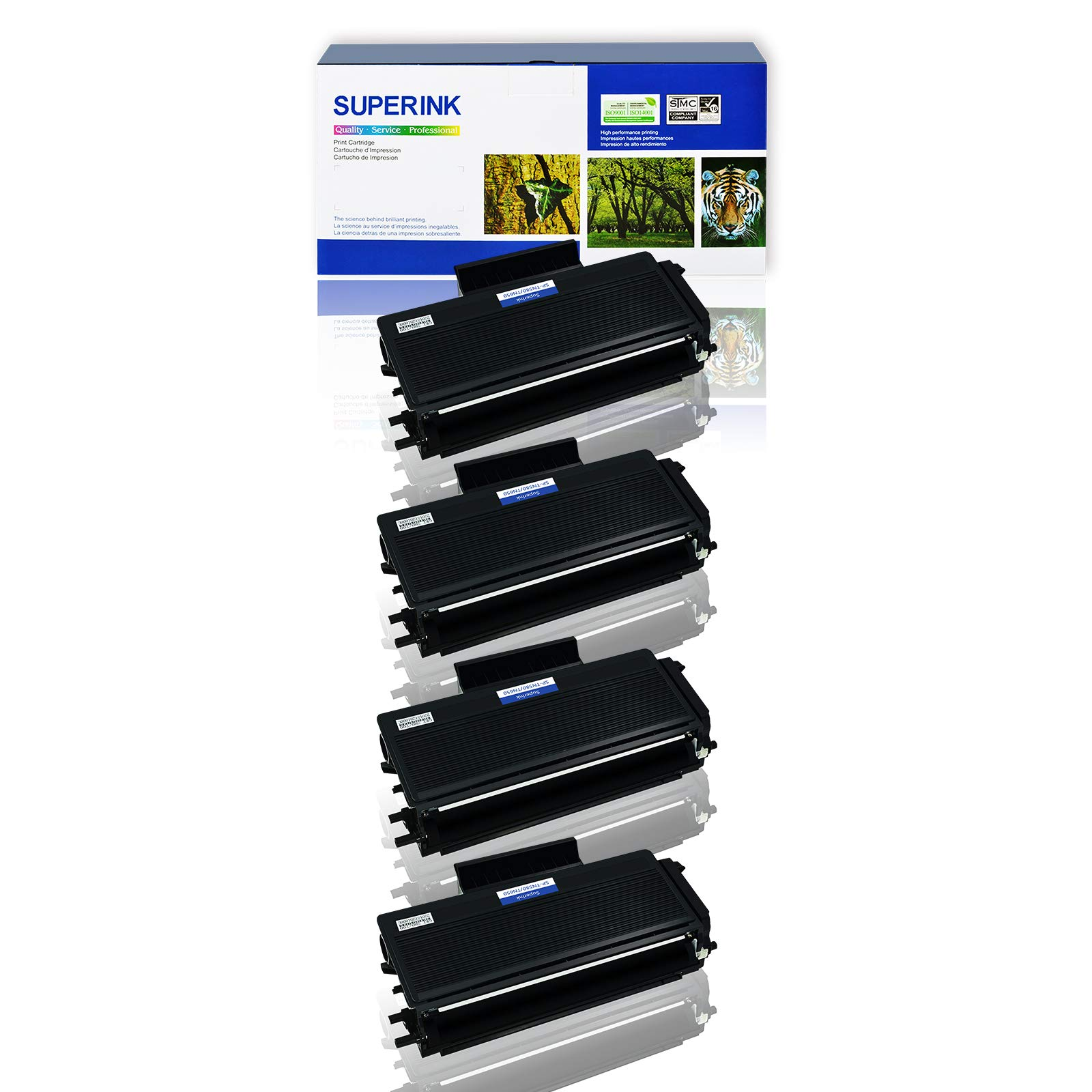 SuperInk 4 Pack Compatible Toner Cartridge Replacement for Brother TN650 TN-650 TN620 High Yield use with DCP-8050DN 8080DN 8085DN HL-5340D 5350DN MFC-8370 8480DN 8680DN 8690DW 8880DN 8890DW Printer