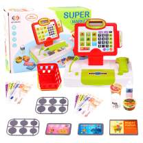 Lekebaby Toy Cash Register Shopping Pretend Play Money Machine with Real Calculator & Scanner, Play Money and Grocery Play Food Set for Boys and Girls