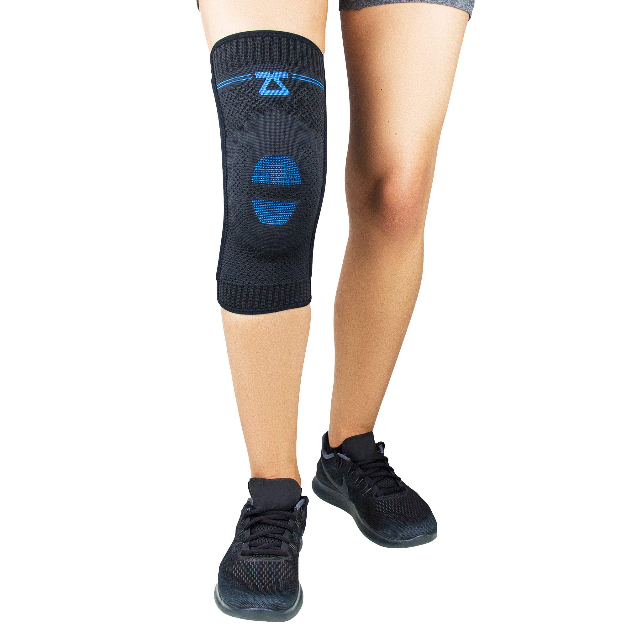 Zensah Elite Knee Compression Sleeve with Patella Gel Pad - Targeted Knee Support for Protection and Pain Relief – Knee Support for Running, Sports, Workout, Gym - Knee Brace (Black, Small)