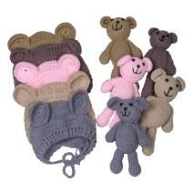 EUDORA Newborn Photography Prop Crochet Bear Bunny Hat Doll Sets, Baby Boy Girl Knit Photo Outfits