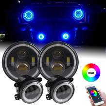 "HOZAN 7inch Round LED Headlight Bluetooth Control RGB Halo Ring with 4"" Fog Light for Jeep Wrangler JK & Unlimited JK Sahara Rubicon 2007-2017"