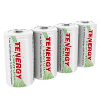 Tenergy Centura 1.2V NiMH Rechargeable D Battery, 8000mAh Low Self Discharge D Cell Batteries, Pre-Charged D Size Battery, 4 Pack - UL Certified