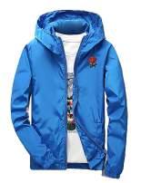 Rexcyril Men's Rose Floral Windbreaker Hooded Jacket Lightweight Casual Full Zip Flower Coat