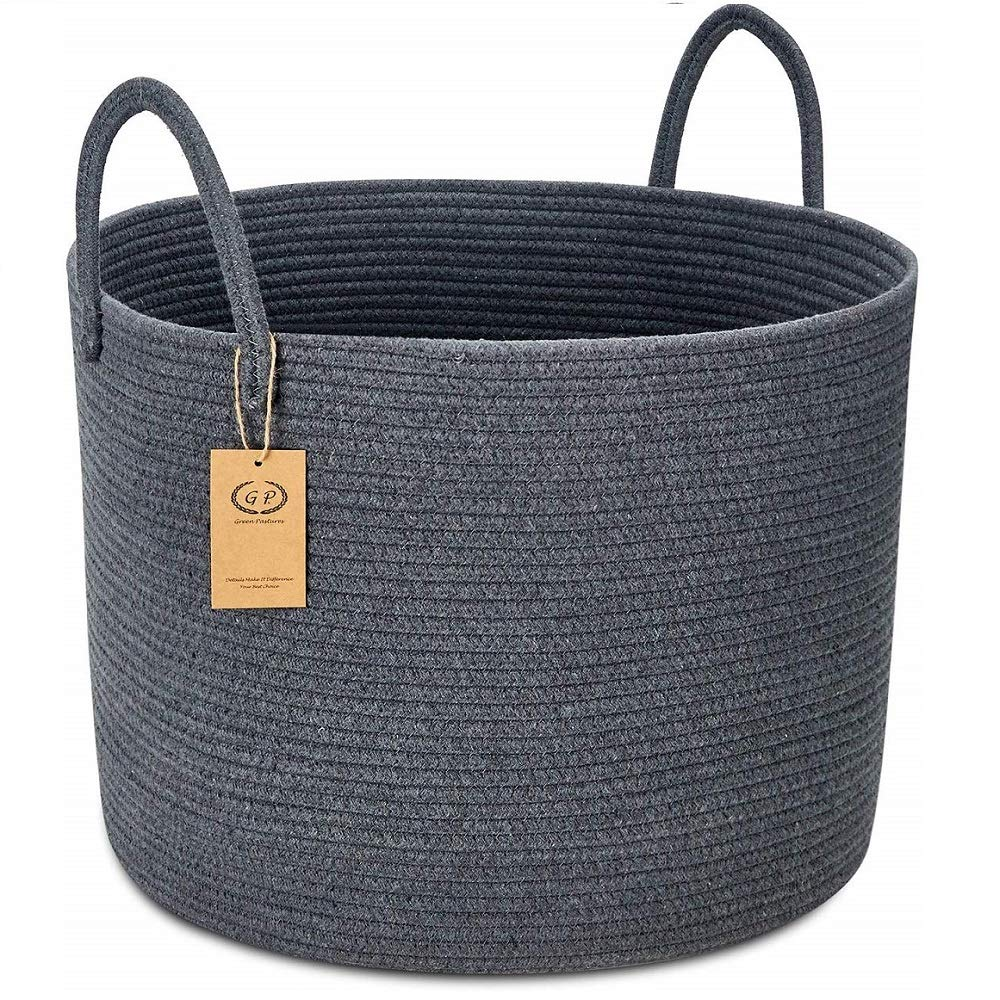 """GreenPastures XXL Cotton Rope Basket, 20'' x 15"""" Woven Laundry Basket with Long Handles, Baby Kids Dogs Toy Bins, Decorative Blanket Storage Basket in Living Room (Full Dark Gray)"""