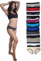 Sexy Basics Womens 12 Pack Lace Underwear Hipster Panties/Cotton-Spandex/Ultra-Soft Cotton Stretch Underwear