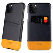 Alto Metro Compatible with iPhone 11 Pro (5.8 inch), Premium Handmade Italian Leather Wallet Case with Card Holder Design (Raven Black/Caramel)