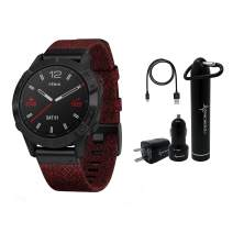 Garmin Fenix 6 Premium Multisport GPS Watch with Pulse Ox with Included Wearable4U Power Pack Bundle (Sapphire/Black DLC with Heathered Red Nylon Band)