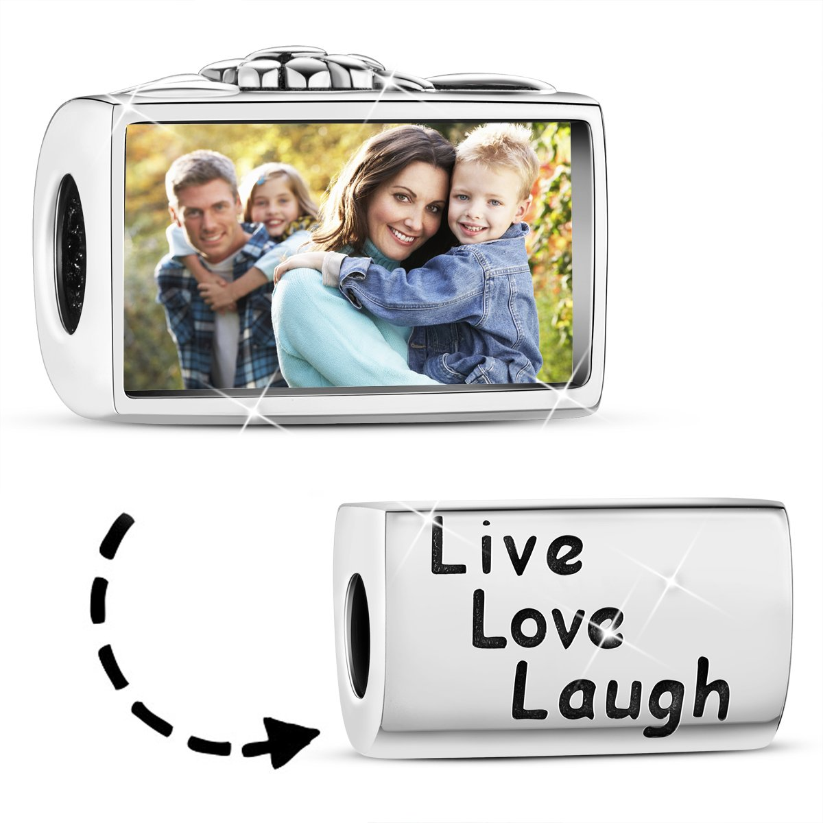 TINYSAND 925 Sterling Silver Live Love Laugh Personalized Customize Photo Picture ID Tag Charms Beads Fit European Bracelet Anklet Keepsake Memorial Gift