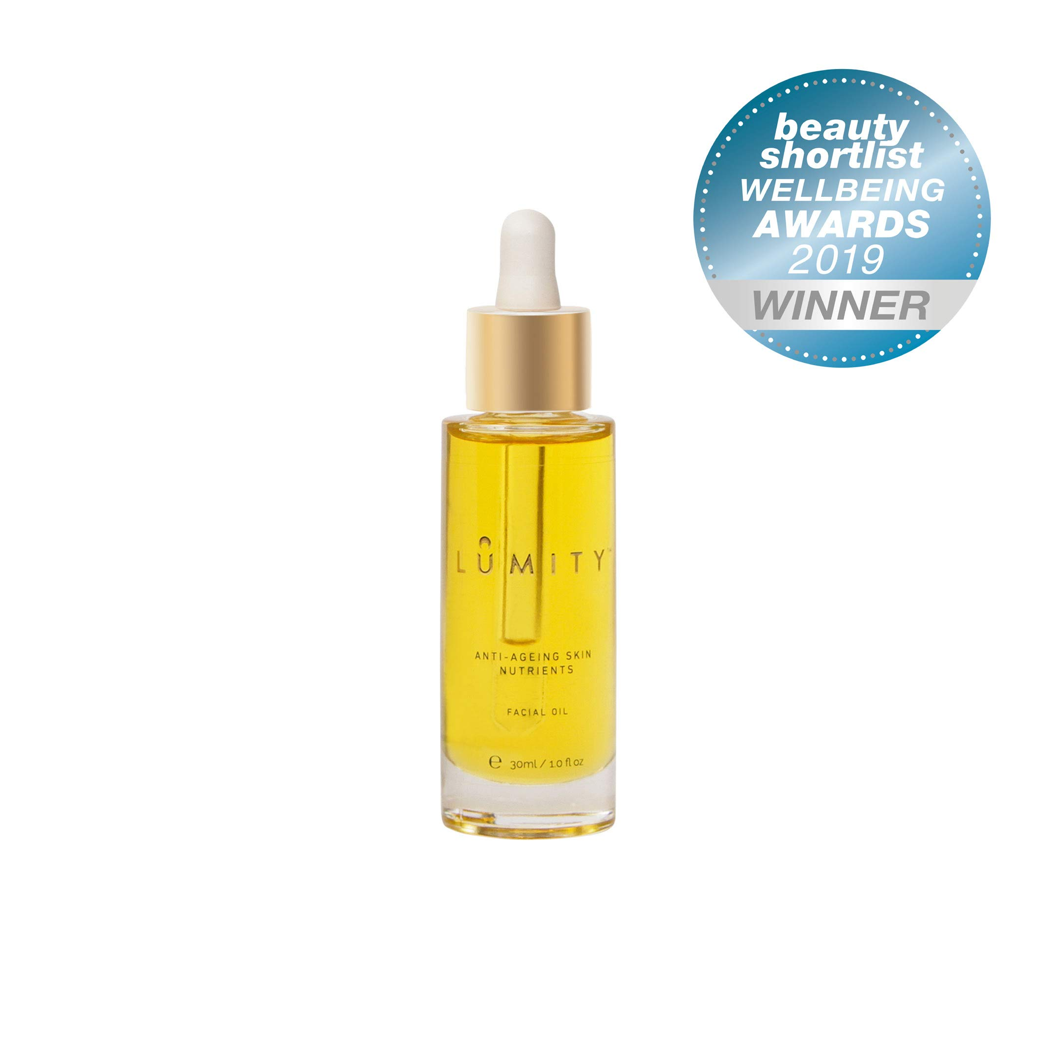 LUMITY Award-Winning Natural Moisturising Anti-Ageing Natural Facial Oil For Fine Lines And Wrinkles - Argan Oil, Jojoba Seed Oil, Green Tea Leaf Extract,