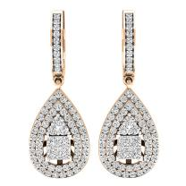 Dazzlingrock Collection 1.10 Carat (ctw) 14K Gold Princess & Round White Diamond Ladies Dangling Drop Earrings 1 CT