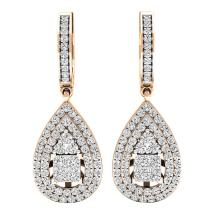 Dazzlingrock Collection 1.10 Carat (ctw) 14K Gold Princess & Round White Diamond Ladies Dangling Drop Earrings 1 CT