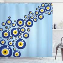 "Ambesonne Evil Eye Shower Curtain, Diagonal Evil Eye Pattern Lively Protection Turkish Cultural, Cloth Fabric Bathroom Decor Set with Hooks, 75"" Long, Pale Blue"