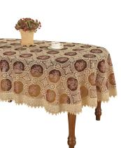 Simhomsen Vintage Burgundy Lace Tablecloth Embroidered Oval 60 × 120 Inch