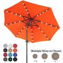 ABCCANOPY 9FT Patio Umbrella Ourdoor Solar Umbrella LED Umbrellas with 32LED Lights, Tilt and Crank Table Umbrellas for Garden, Deck, Backyard and Pool,12+Colors,(Orange)