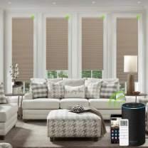 Yoolax Motorized Cellular Shades Cordless Privacy Single Cell Window Blinds Smart Alexa Honeycomb Shades(Coffee)