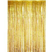 ONUPGO 3.28 ft x 9.8 ft Gold Foil Curtains Metallic Tinsel Fringe Curtain Photo Booth Props Backdrop Curtain Perfect for Birthday Wedding Baby Shower Christmas Holiday Party Decorations