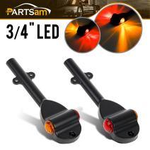 "Partsam Set RED AMBER LED Trailer Fender Bullet 3/4"" Led Clearance Marker Light Left Right"