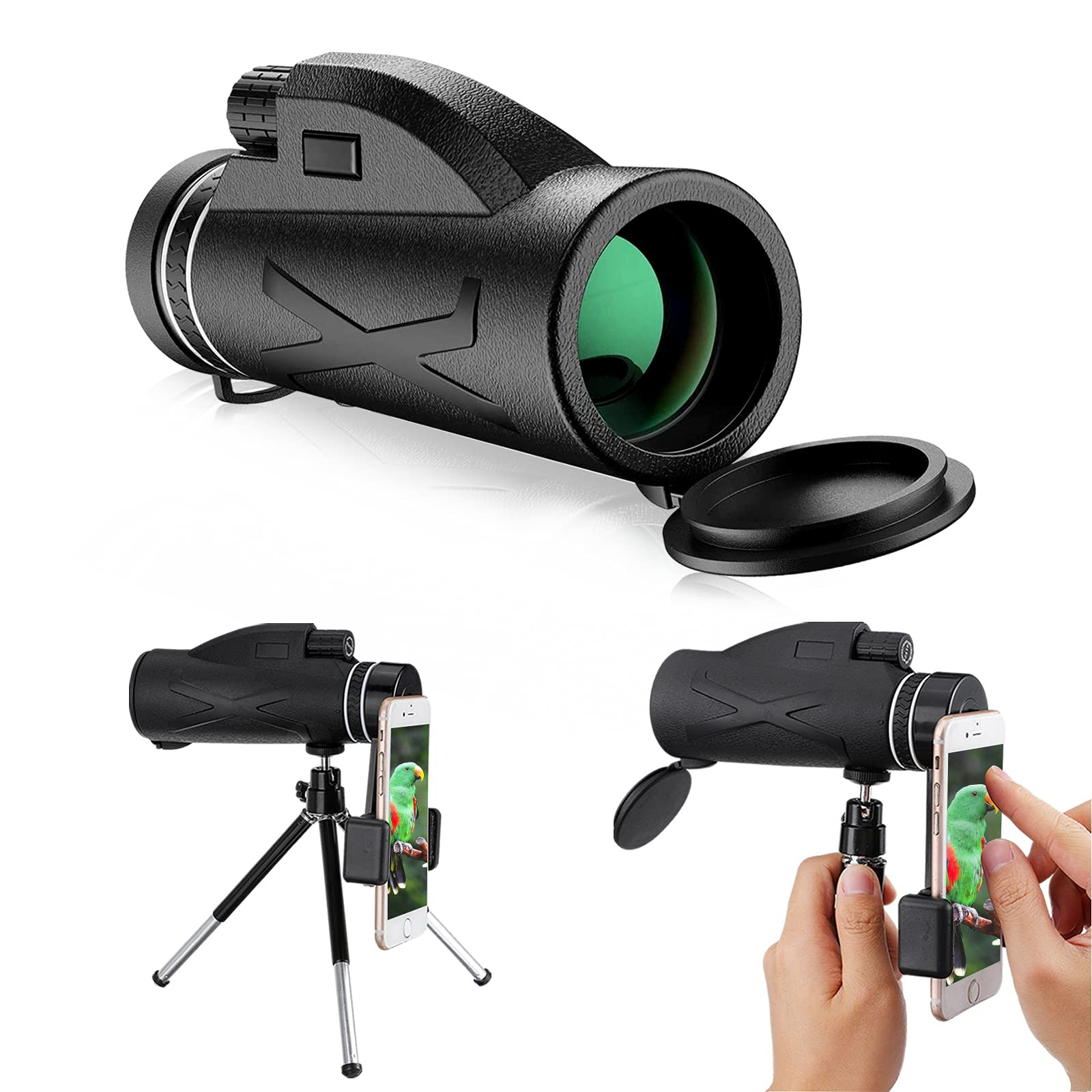 Monocular Telescope, 80x100 High Power Monocular with Smartphone Holder & Tripod, Waterproof Zoom Telescope,for Bird Watching Hunting Camping Travelling Wildlife Secenery