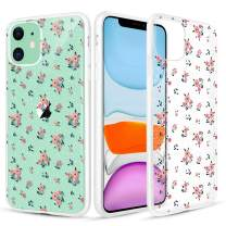 Caka Case for iPhone 11 Flower Case Glitter Crystal Clear Floral Pattern Pink Flower Women Girls Bling TPU Flexible Matte Frames Anti Slip Flower Phone Case for iPhone 11 (Pink Floral)