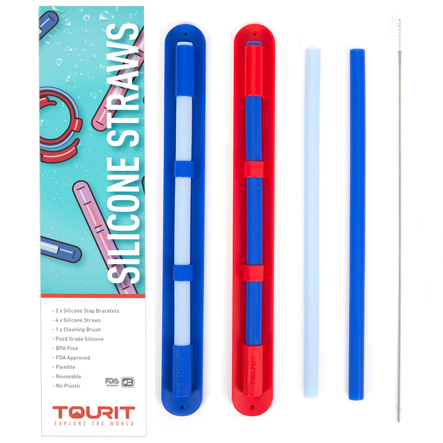 TOURIT Reusable Silicone Straws Regular Size for 30oz and 20oz Tumblers 4 Pack Silicone Drinking Straws with Case and Cleaning Brush BPA Free