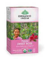 Organic India Tulsi Caffeine Free Tea, Sweet Rose, 100% Certified Organic, Non-GMO, and Fair Trade, 18 Count